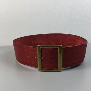 Accessories - Red Italian Genuine Leather wide Embroidered Belt